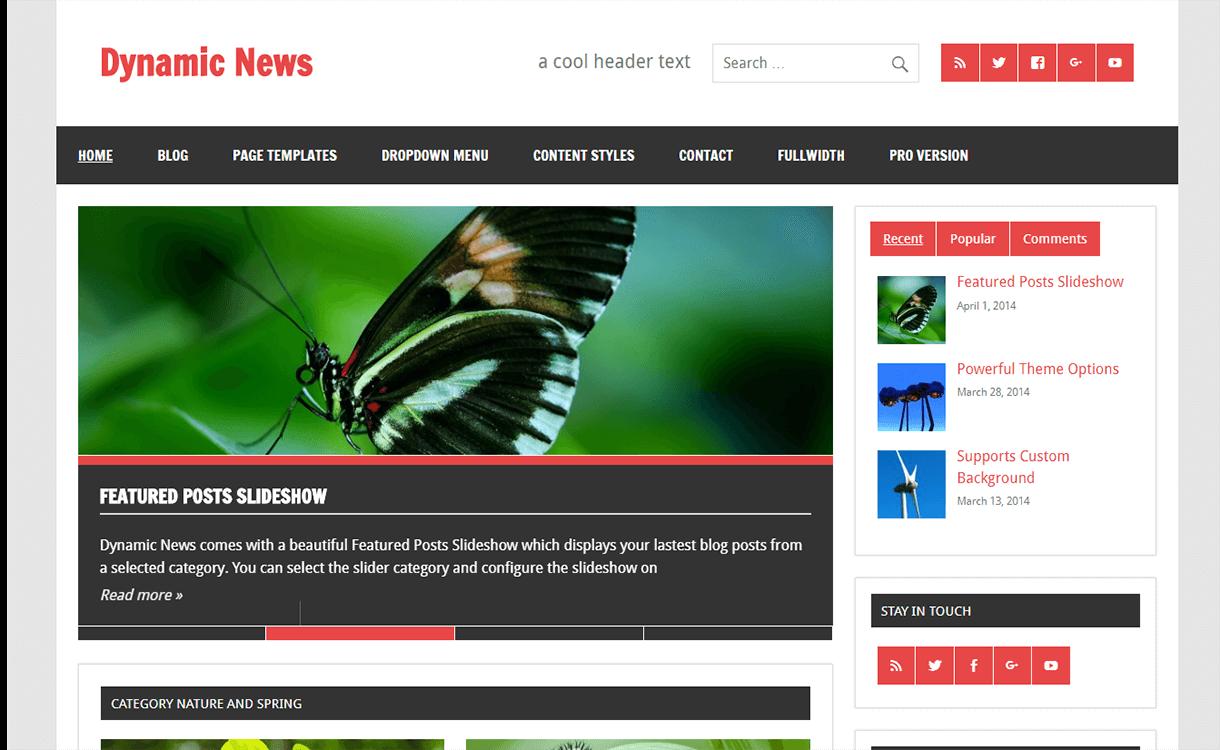 dynamic news lite magazine wordpress theme - 25+ Best Free Magazine WordPress Themes For 2019