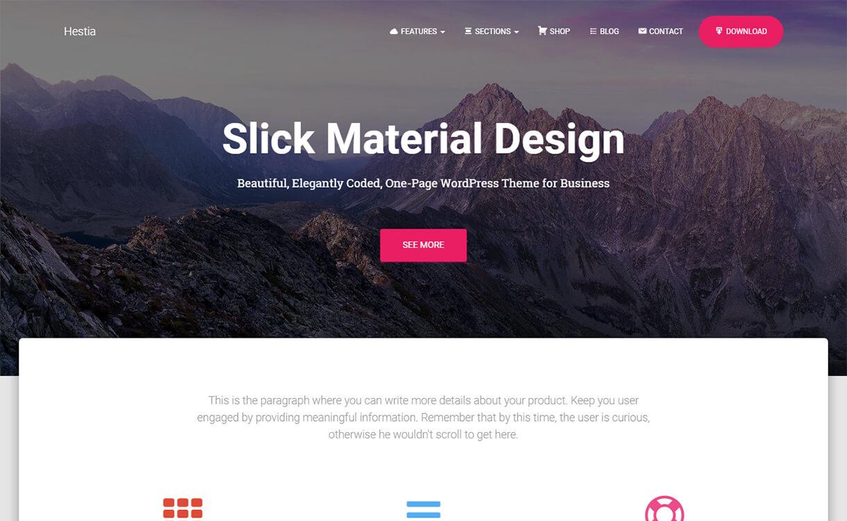 hestia wordpress material design theme - 15 Best Free Material Design WordPress Themes for 2019