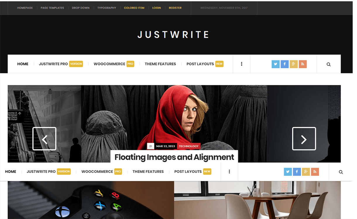 JustWrite-Free Magazine WordPress Theme