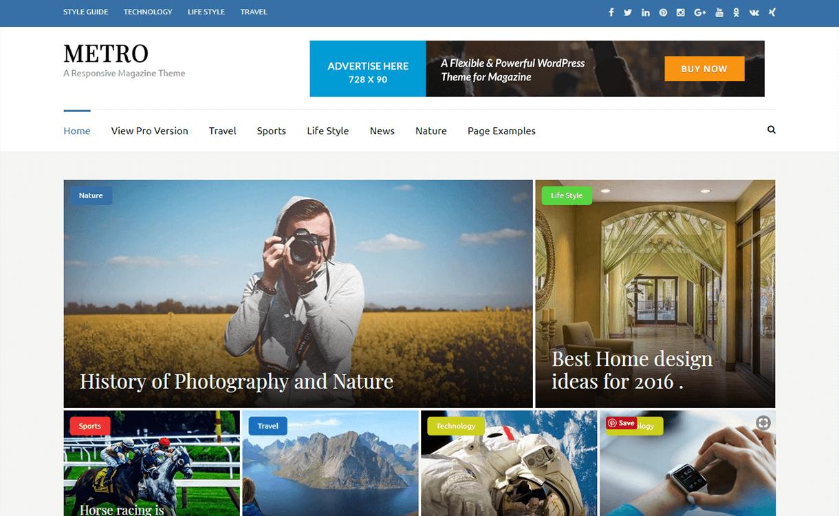 Metro Magazine-Free Magazine WordPress Theme