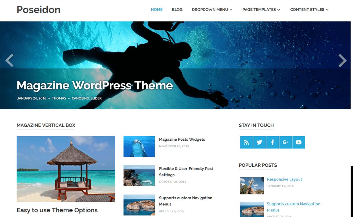 poseidon magazine wordpress theme - 25+ Best Free Magazine WordPress Themes For 2019