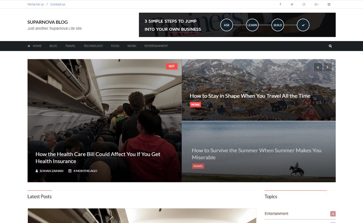 Suparnova Lite-Best Free WordPress Themes November 2017
