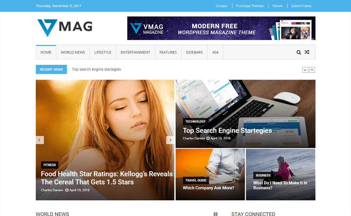 vmag magazine wordpress theme - 25+ Best Free Magazine WordPress Themes For 2019