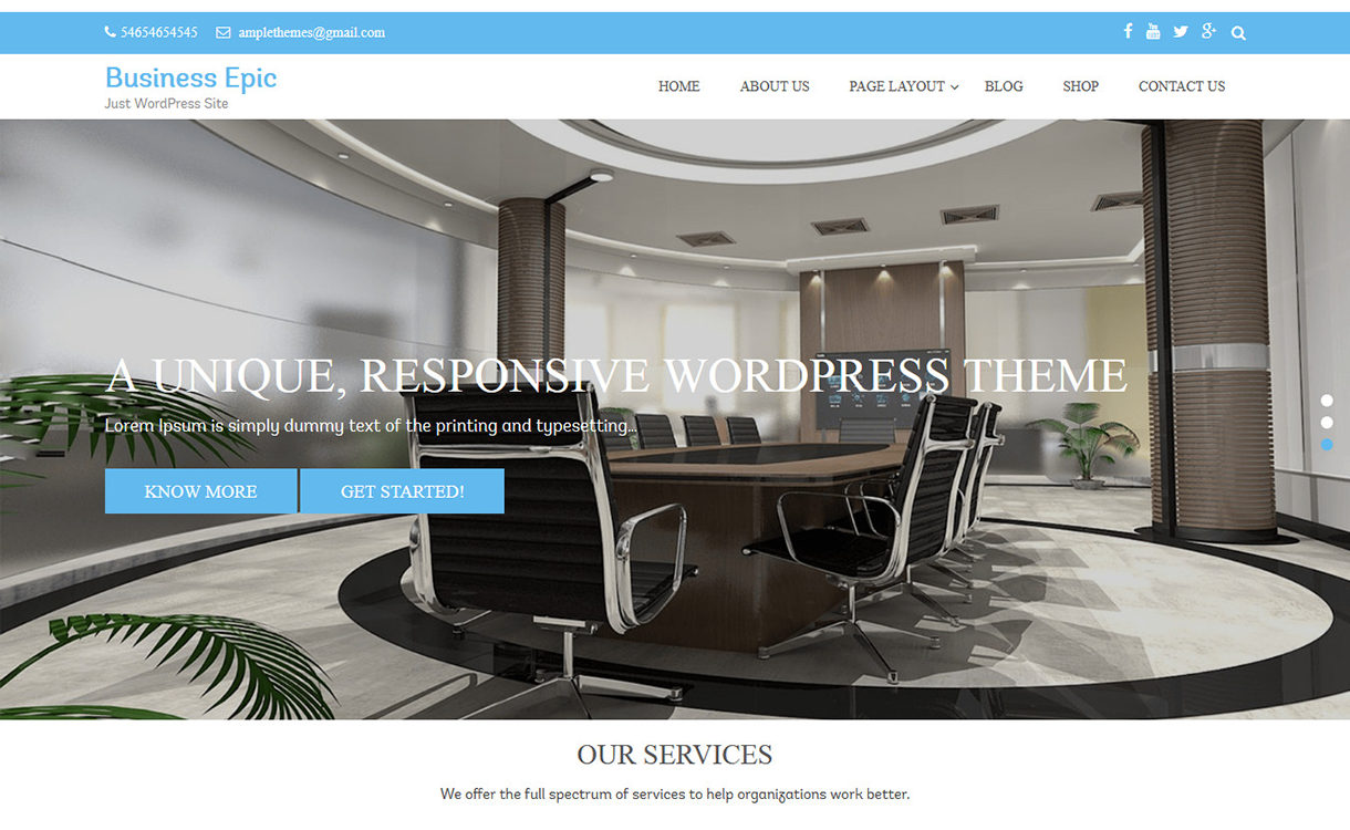 business epic free wordpress theme december - 20 Best Free WordPress Themes December 2017