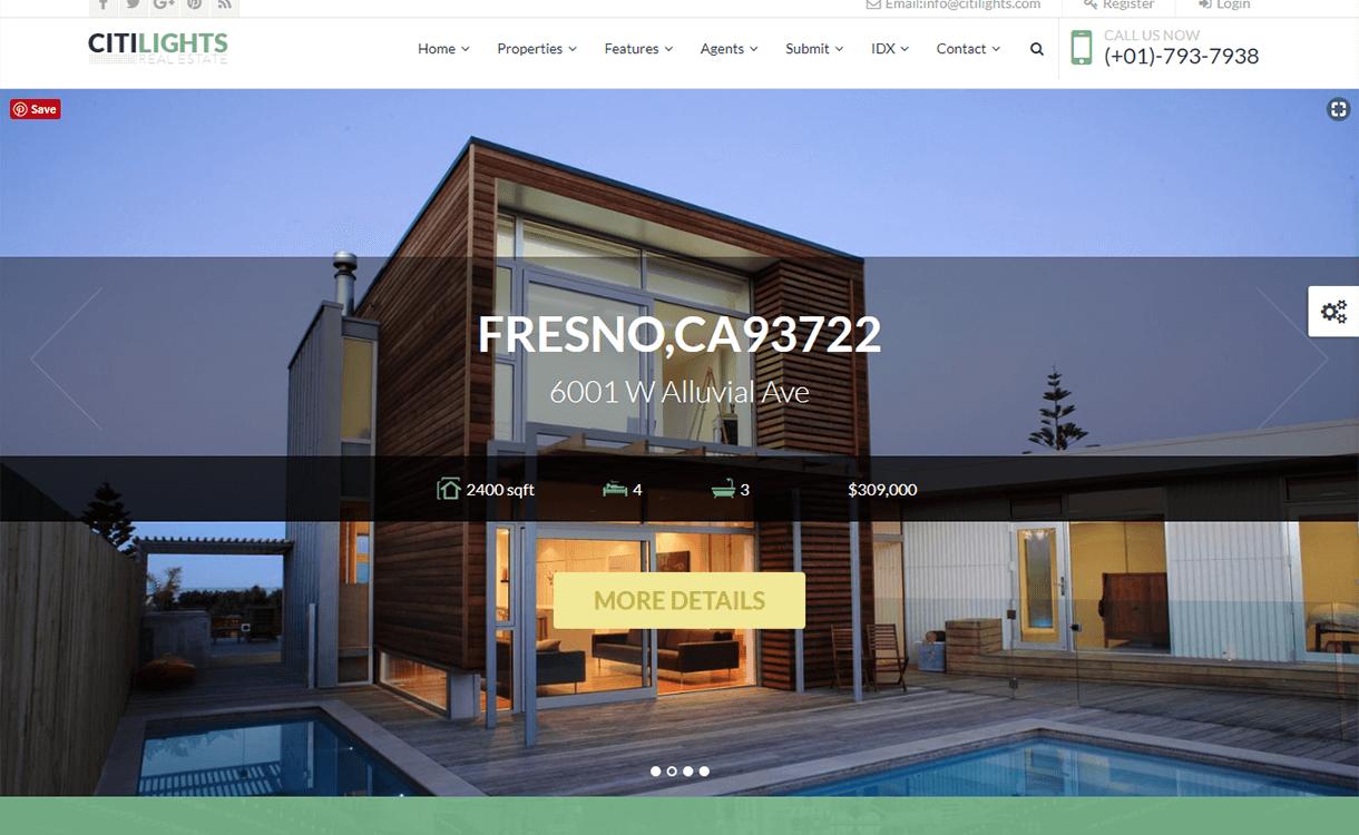 citilights best free premium real estate wordpress theme - 25+ Best Real Estate WordPress Themes Free & Premium