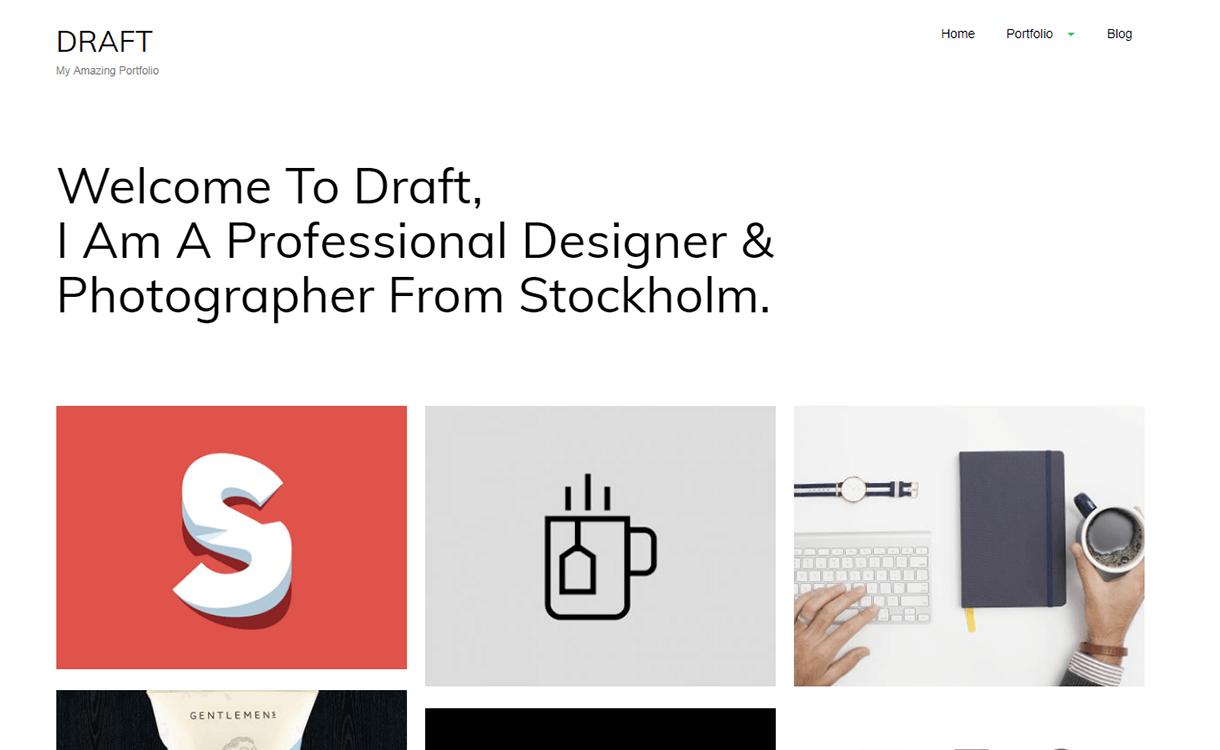 draft portfolio free wordpred portfolio theme - 15 Best Free WordPress Portfolio Themes For 2019