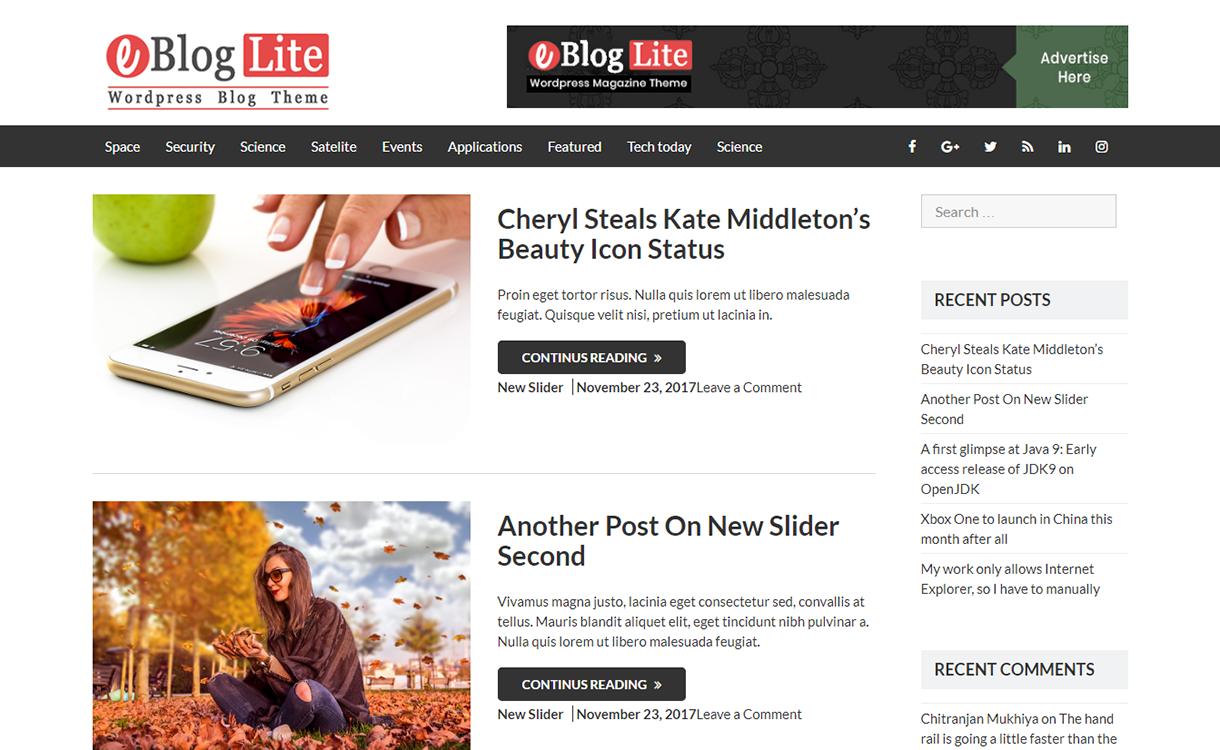 eBlog Lite-Best Free WordPress Themes December 2017