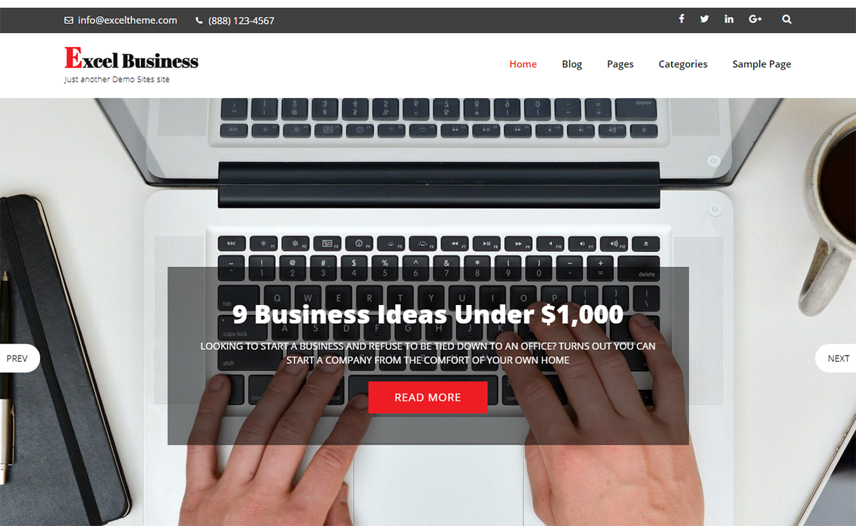 Excel Business-Best Free WordPress Themes December 2017