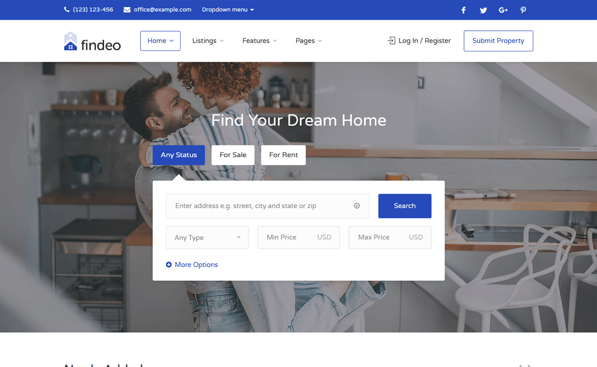 findeo best free premium real estate wordpress theme - 25+ Best Real Estate WordPress Themes Free & Premium