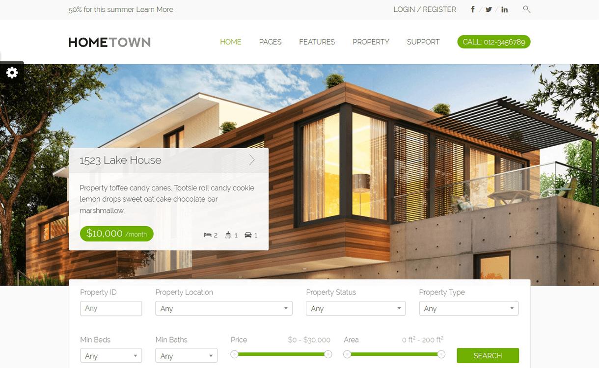 hometown best free premium real estate wordpress theme - 25+ Best Real Estate WordPress Themes Free & Premium