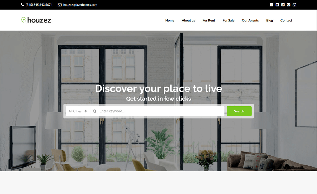 houzez best free premium real estate wordpress theme - 25+ Best Real Estate WordPress Themes Free & Premium