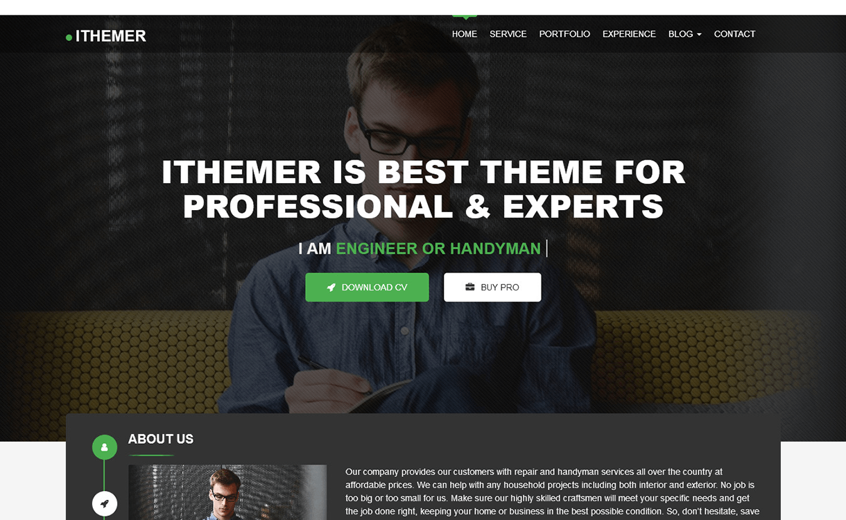 ithemer free wordpress theme - 15 Best Free WordPress Portfolio Themes For 2019