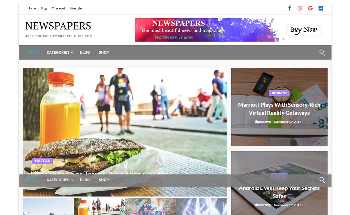 newspapers free wordpress theme december - 20 Best Free WordPress Themes December 2017