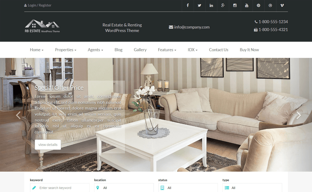 rbestate best free premium real estate wordpress theme - 25+ Best Real Estate WordPress Themes Free & Premium