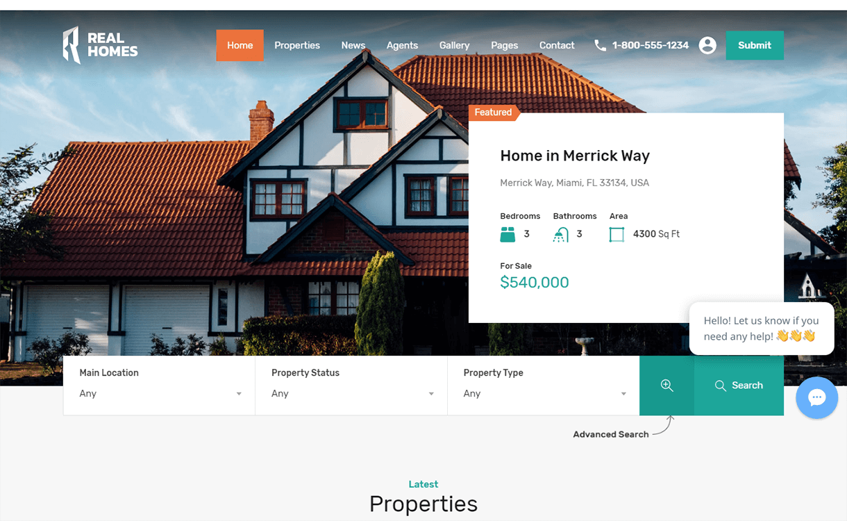 real homes best free premium real estate wordpress theme 1 - 25+ Best Real Estate WordPress Themes Free & Premium