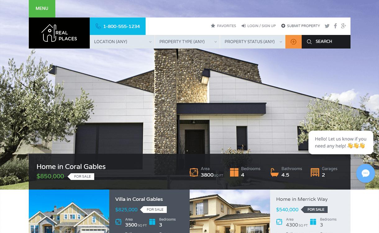 real places best free premium real estate wordpress theme 2 - 25+ Best Real Estate WordPress Themes Free & Premium