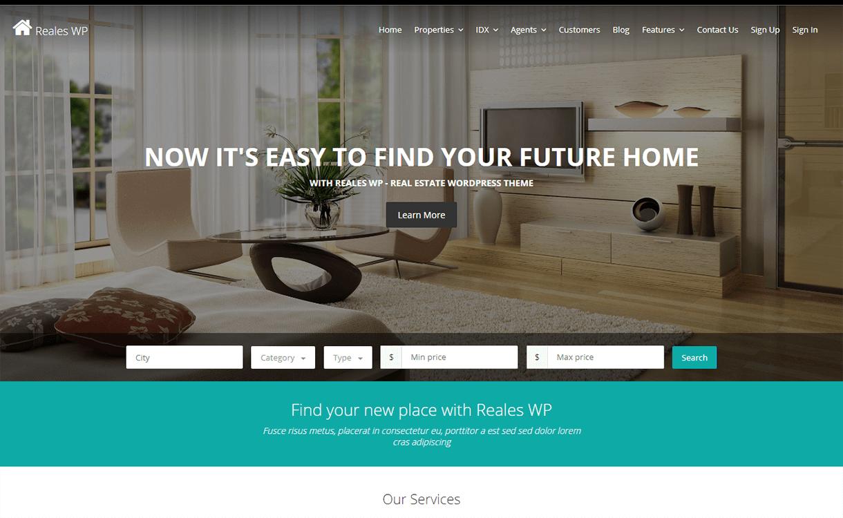 reales wp best free premium real estate wordpress theme - 25+ Best Real Estate WordPress Themes Free & Premium