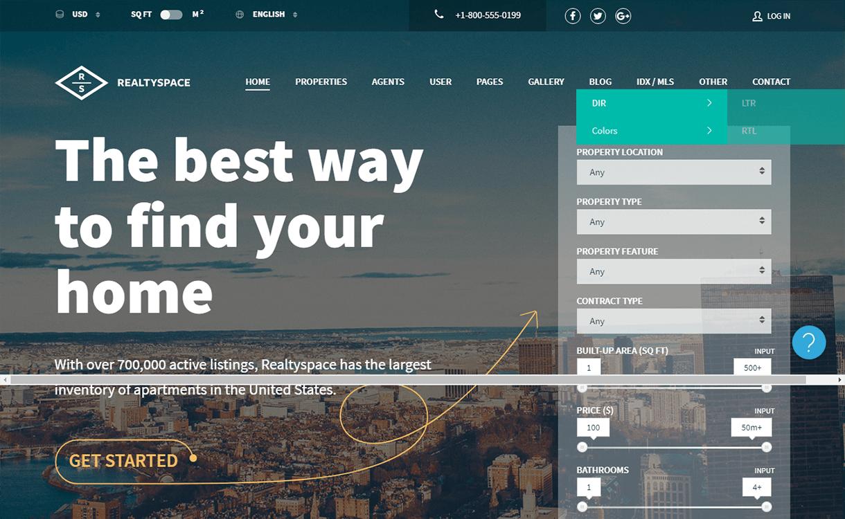 realtyspace best free premium real estate wordpress theme - 25+ Best Real Estate WordPress Themes Free & Premium