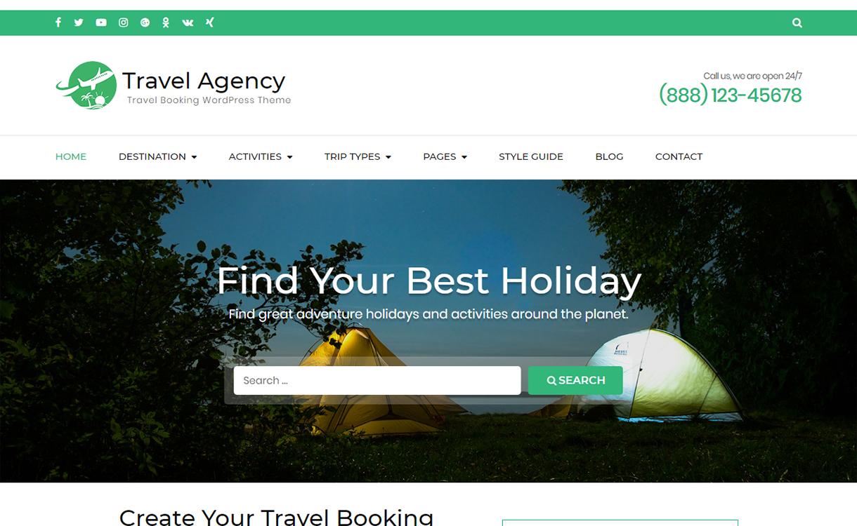 travel agency free wordpress theme december - 20 Best Free WordPress Themes December 2017