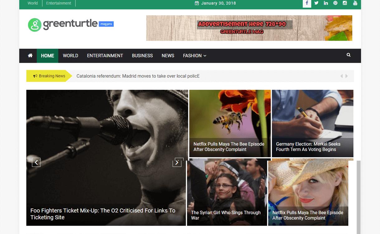 greenturtle mag best free wordpress themes january 2018 - 21+ Best Free WordPress Themes January 2018