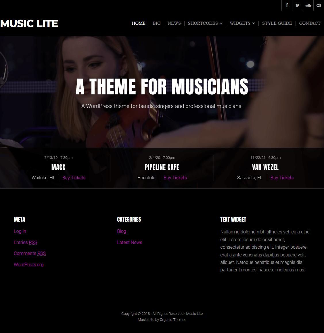 Music Lite-Best Free WordPress Theme January 2018