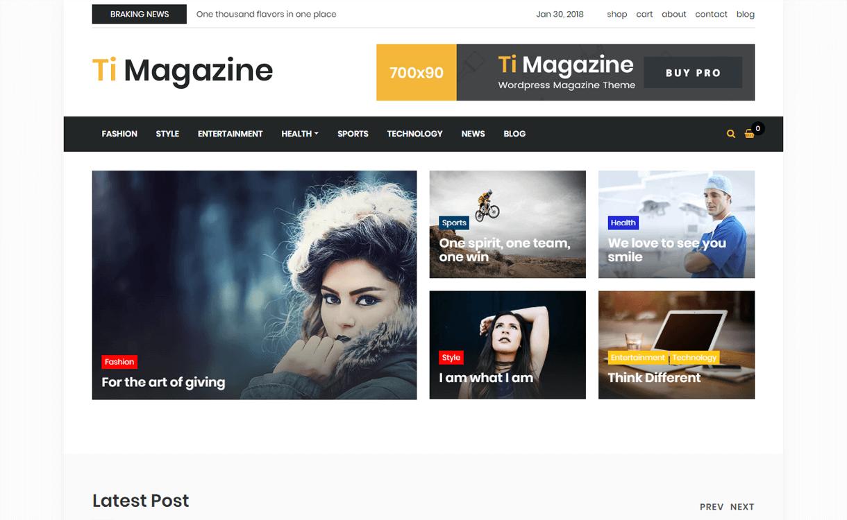 timagazine best free wordpress themes january 2018 - 21+ Best Free WordPress Themes January 2018
