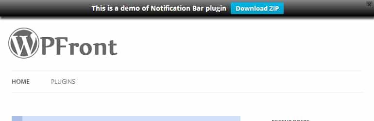 WP Front Notification Bar - Best Free WordPress Notification Bar Plugins
