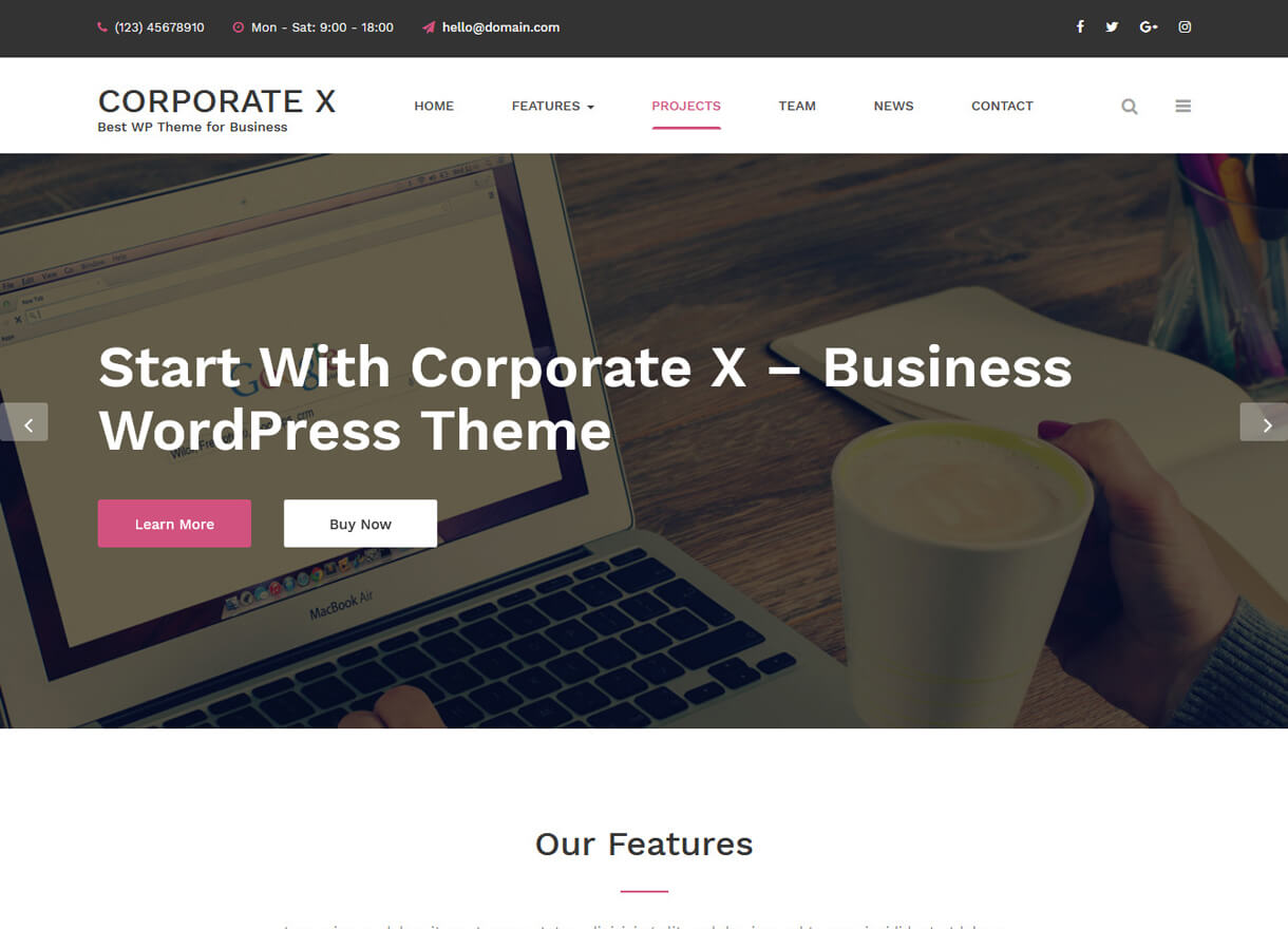 corporate x best free wordpress themes february - 21+ Best Free WordPress Themes February 2018