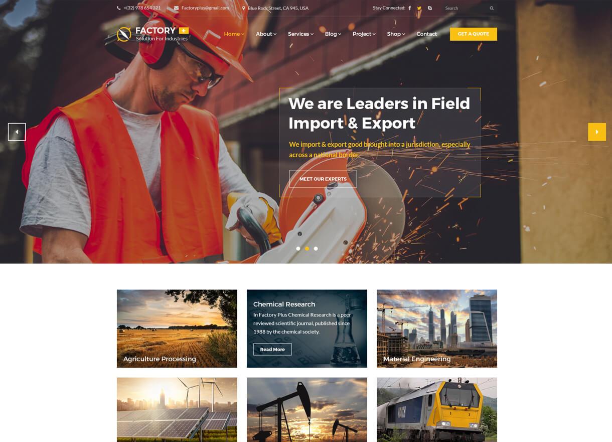 factory plus best premium wordpress construction company themes - 30+ Best Premium WordPress Construction Company Themes 2019