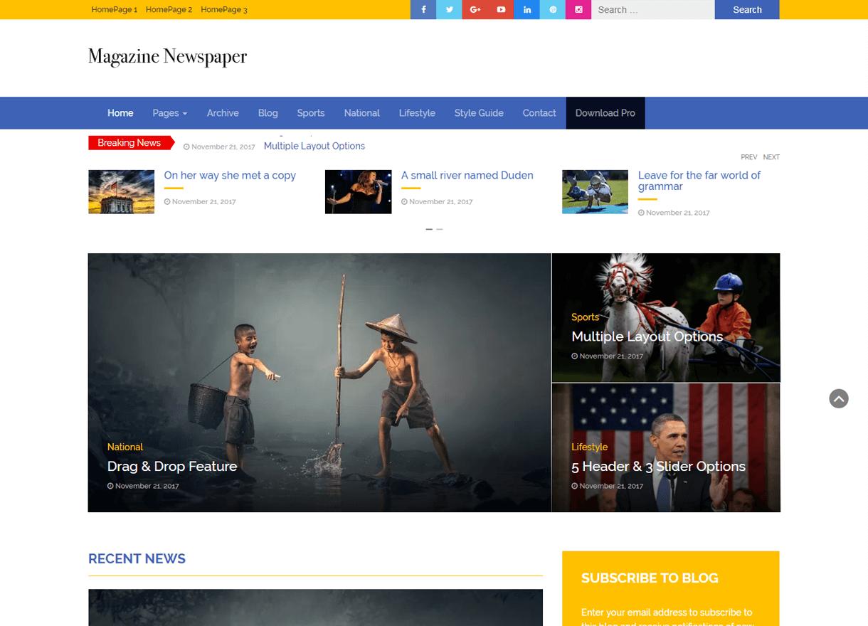 Magazine Newspaper-Best Free WordPress Themes February