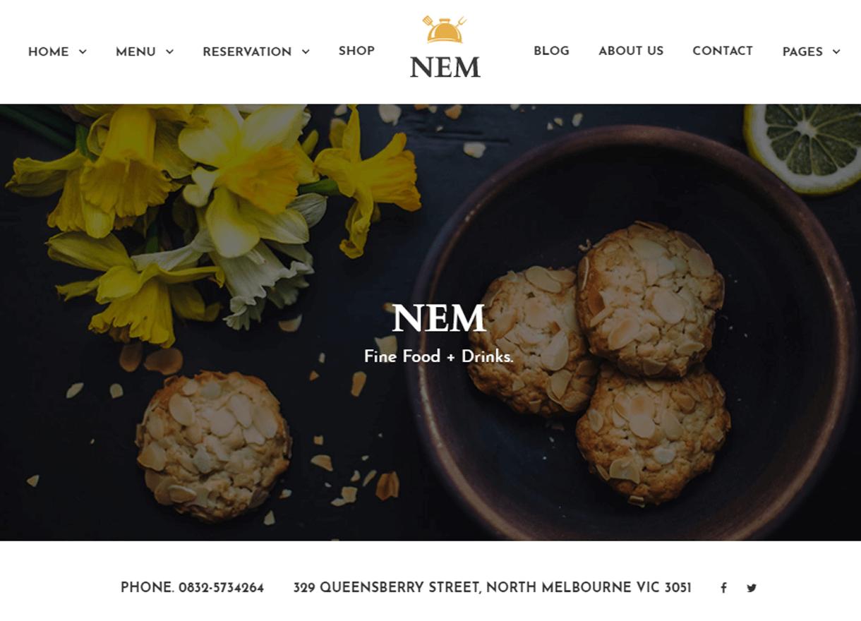Nem-Best Cafe and Restaurant WordPress Themes