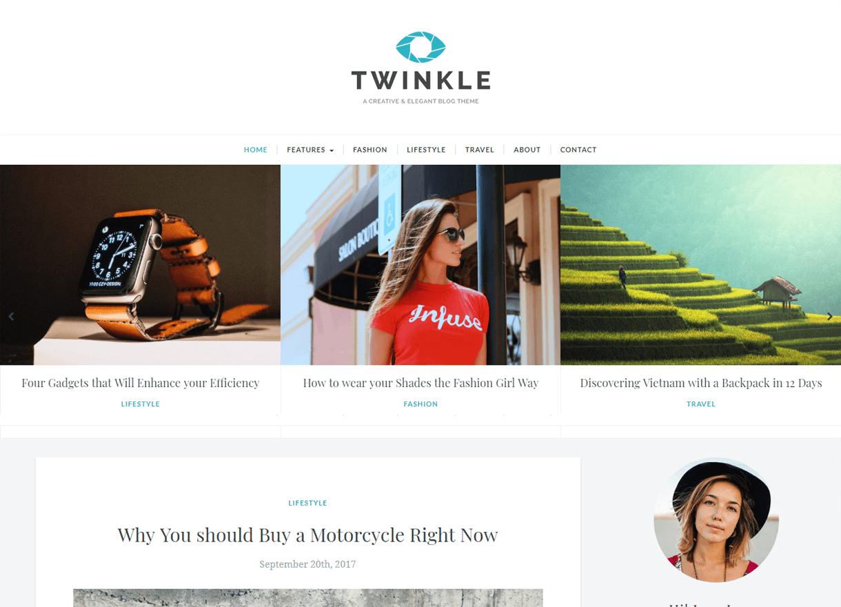 twinkle best free wordpress themes february - 21+ Best Free WordPress Themes February 2018