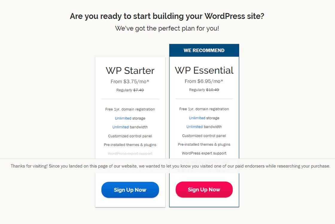 iPage WordPress Hosting Plans
