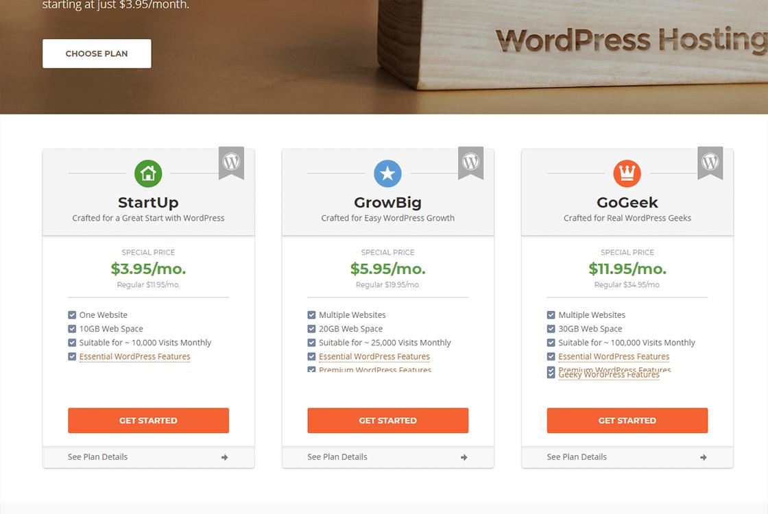 WP WordPress Hosting Plans
