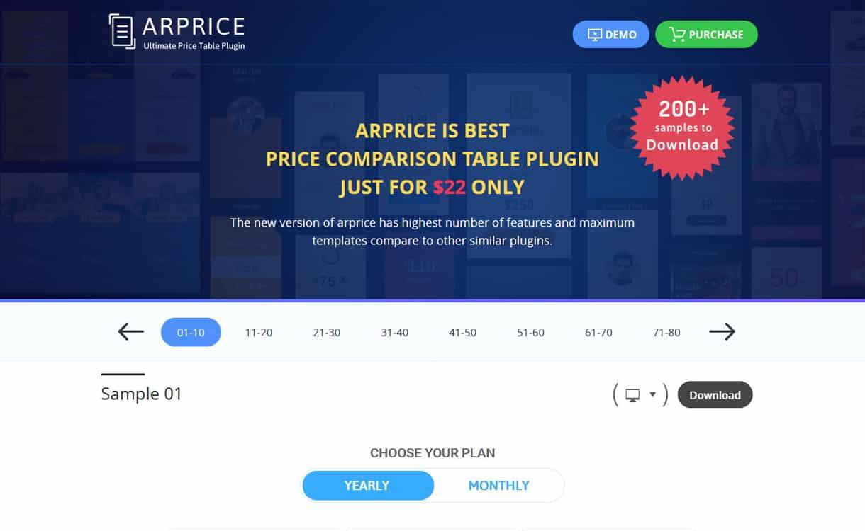 arprice - 5+ WordPress Pricing Table Plugins 2020