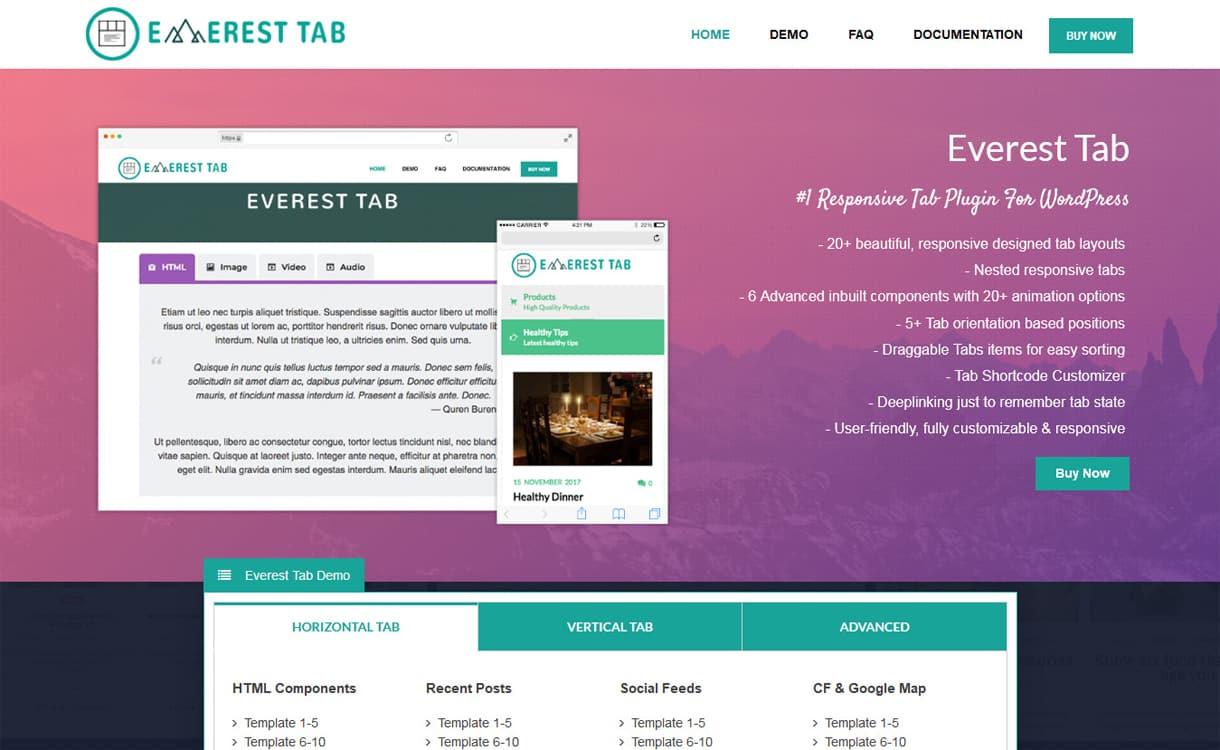 everest tab - 5+ Best Responsive WordPress Tab Plugins 2019