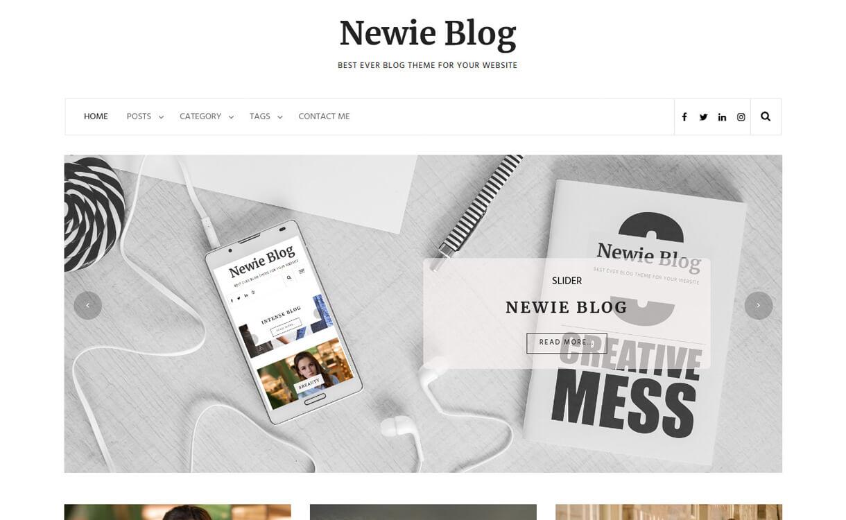 newie best free blog themes for wordpress - Free, Elegant and Best Blog Themes of WordPress For 2019