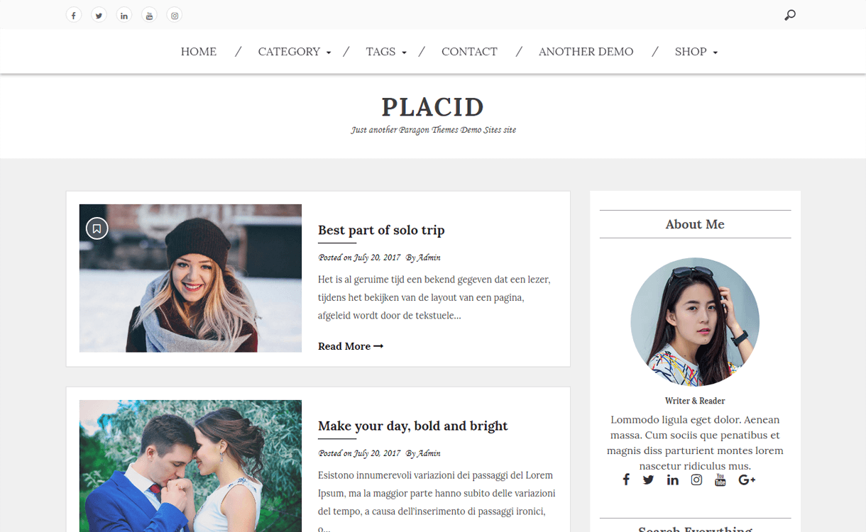 Placid-Free, Elegant and Best WordPress Blog Themes