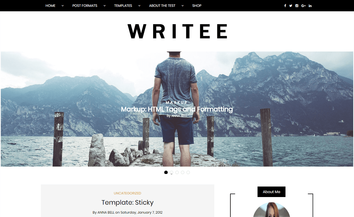 Writee-Free, Elegant and Best WordPress Blog Themes