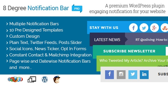 Best WordPress Notification Bar Plugin: 8Degree Notification Bar Pro