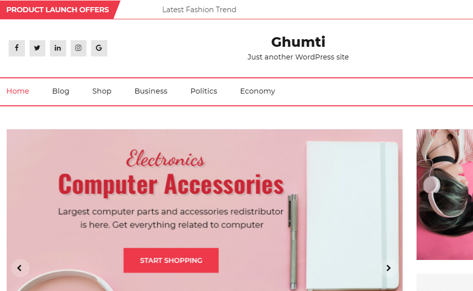 Ghumti Responsive eCommerce Theme - 30+ Best Free WordPress eCommerce/WooCommerce Themes for 2020