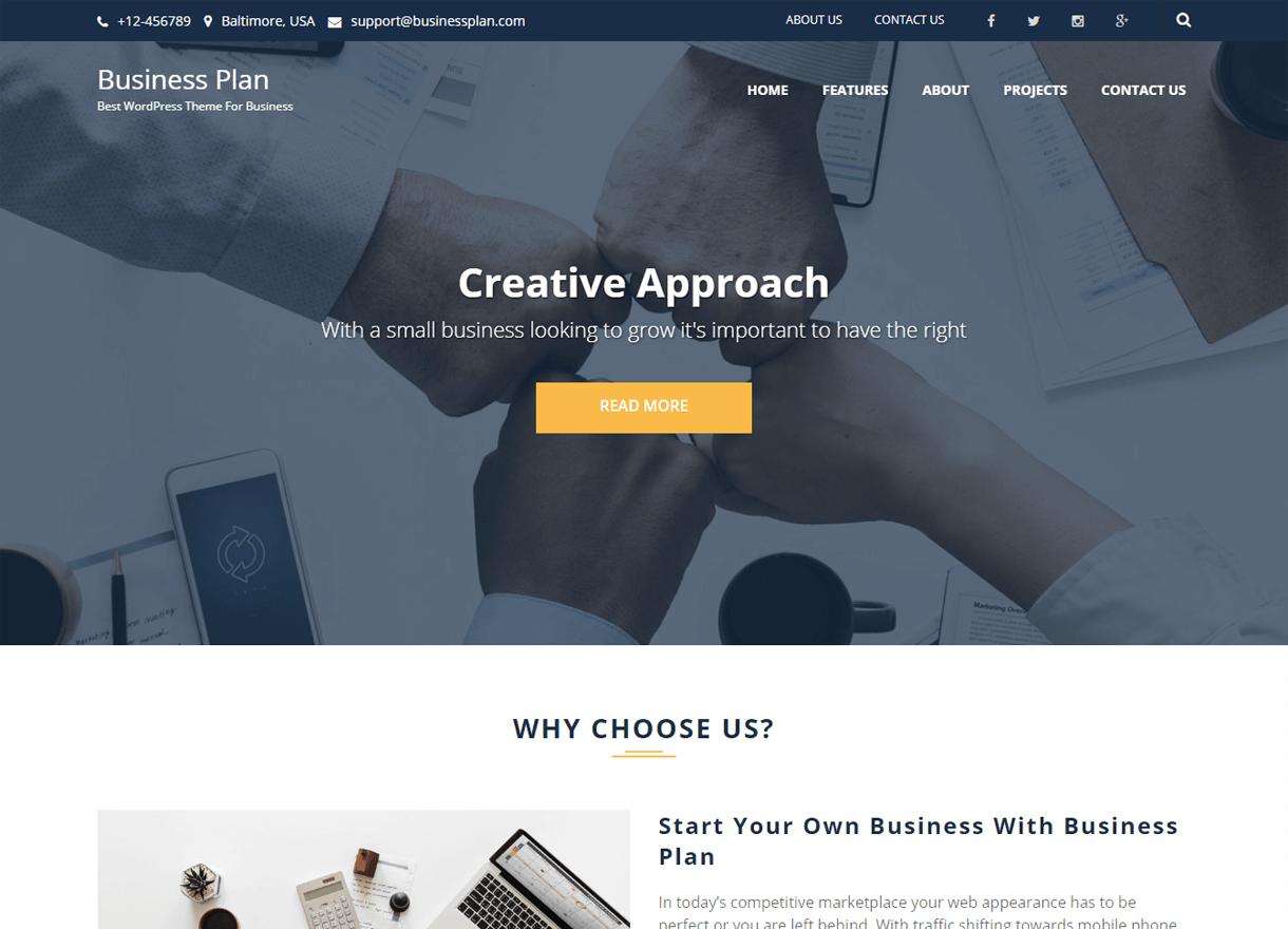 Business Plan-Best Free WordPress Themes April 2018