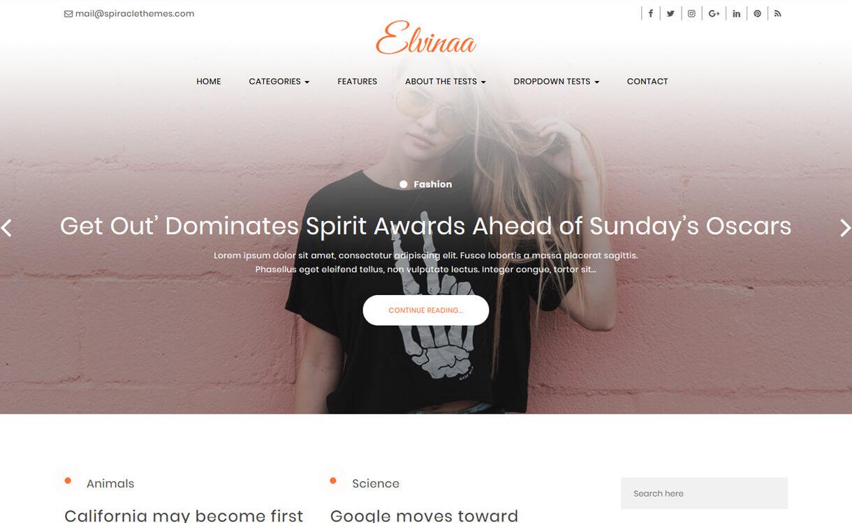 elvinna best free wordpress themes march - 21+ Best Free WordPress Themes March 2018