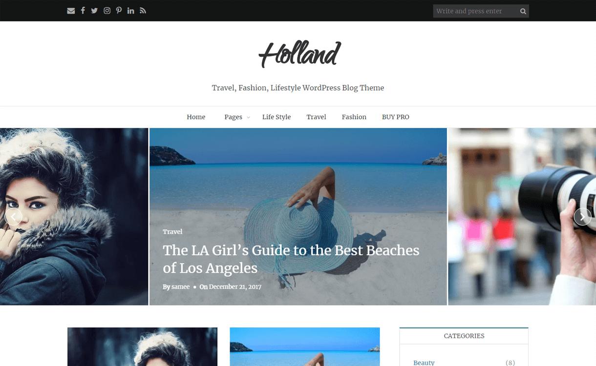 Holland-Best Free WordPress Themes March 2018
