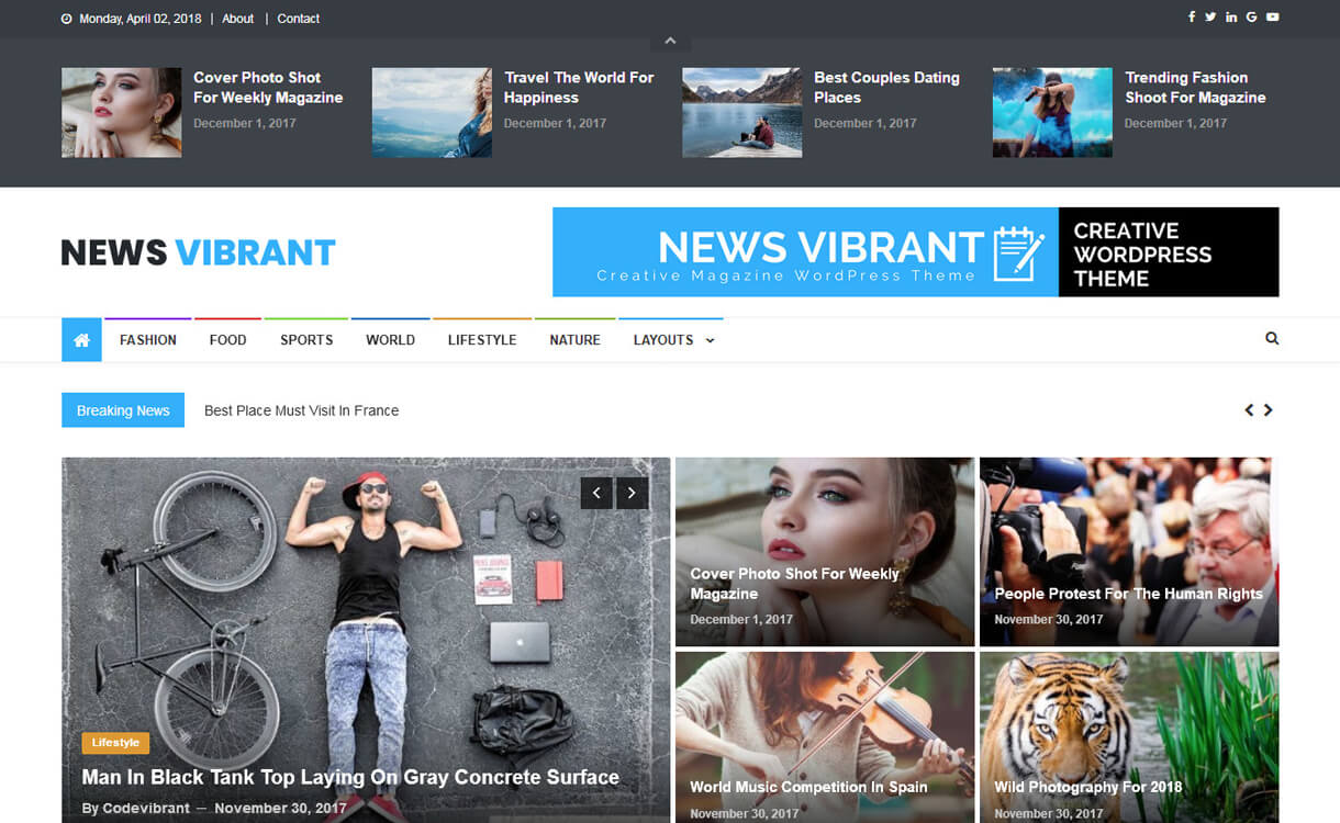 news vibrant best free wordpress themes march - 21+ Best Free WordPress Themes March 2018