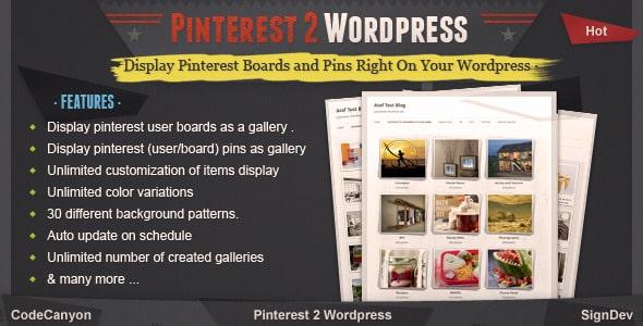 Pinterest2WordPress - WordPress Pinterest Plugins