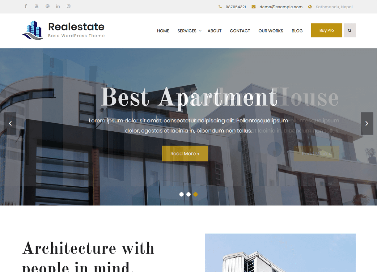 Realestate Base-Best Free WordPress Themes April 2018