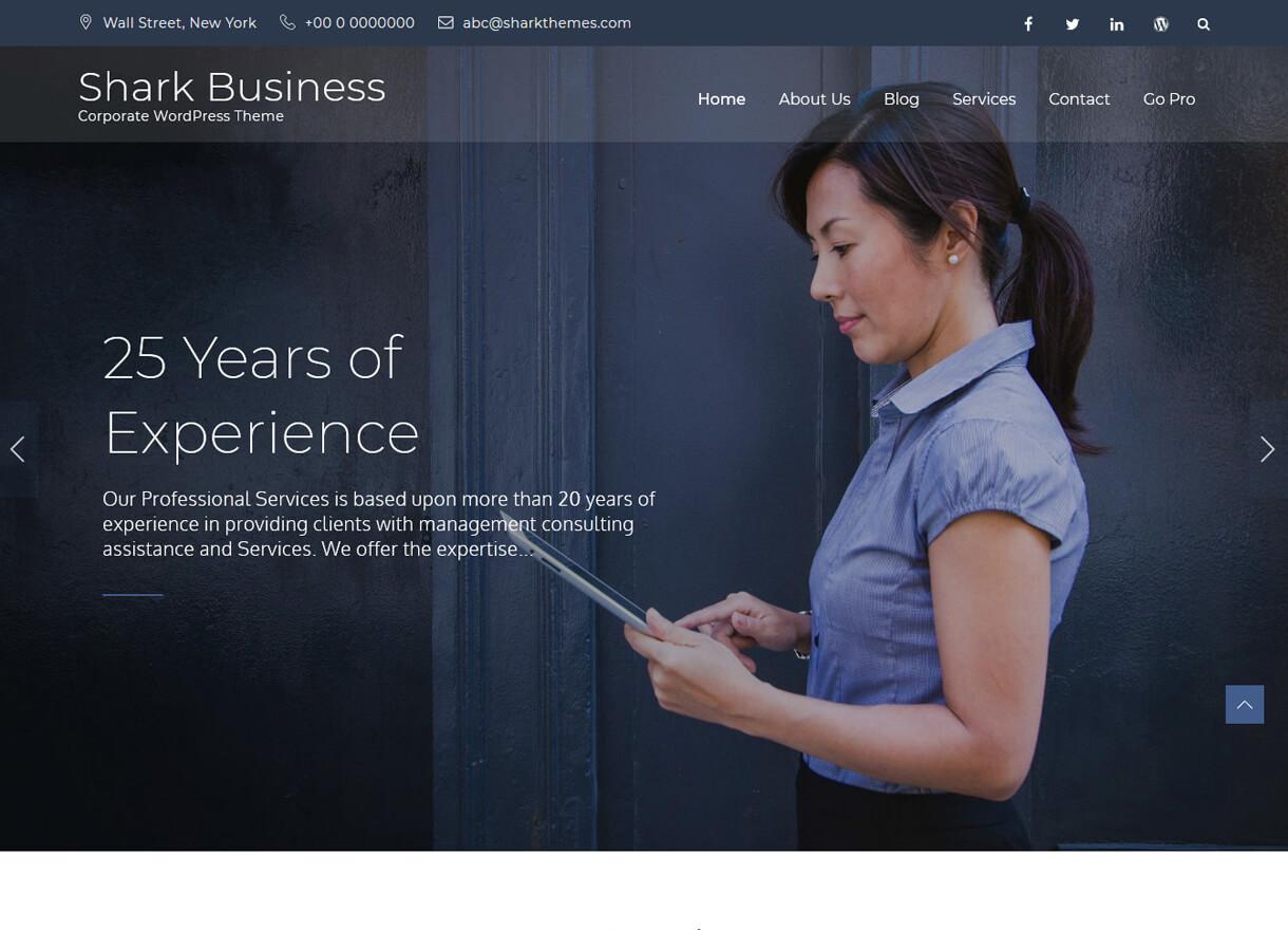 Shark Business-Best Free WordPress Themes April 2018