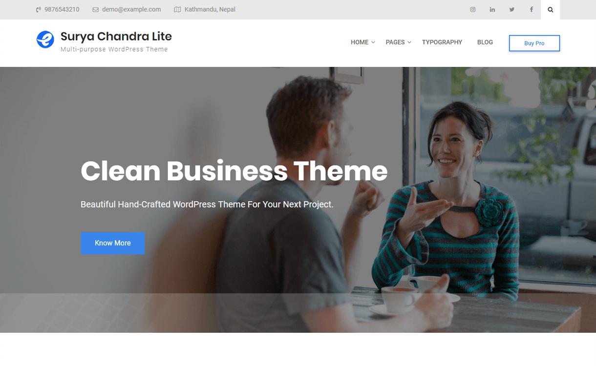 surya chandra lite best free wordpress themes march - 21+ Best Free WordPress Themes March 2018
