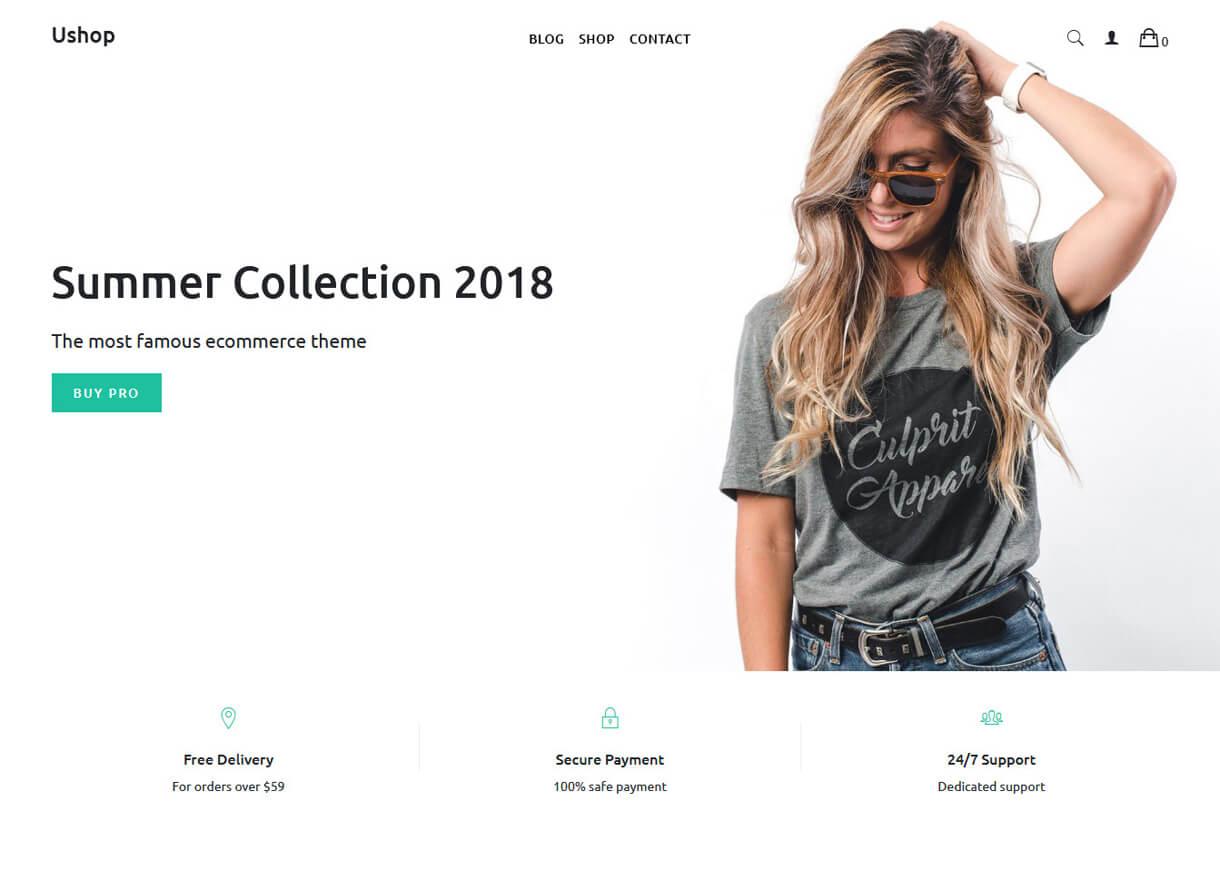 Ushop-Best Free WordPress Themes April 2018
